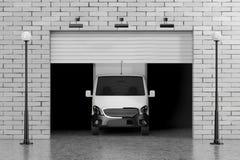 Lastskåpbil i garage med portdörren för rullande slutare, tegelstenvägg a vektor illustrationer
