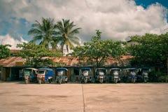 Lastwagenpark Stockfoto