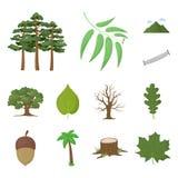 Lasu i natury kreskówki ikony w ustalonej kolekci dla projekta Lasowego życia symbolu zapasu sieci wektorowa ilustracja ilustracji