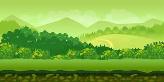 Lasu i wzgórzy gemowego tła 2d zastosowanie Fotografia Stock