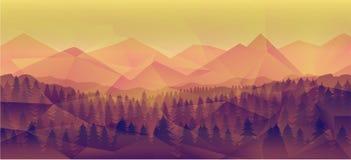Lasu krajobraz, natura wektoru tło Zdjęcia Stock