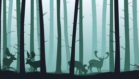 Lasu krajobraz z sylwetkami drzewa i ugorów deers - wektorowa ilustracja ilustracja wektor