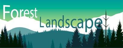 Lasu krajobrazowy sztandar Obrazy Royalty Free
