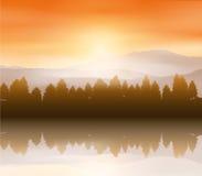 Lasu krajobrazowy tło Zdjęcia Stock