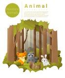 Lasu krajobrazowy tło z lasów zwierzętami Obraz Royalty Free