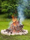 Lasu obozu ogień Zdjęcie Royalty Free