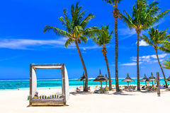 Lasy tropical holidays. white sandy beach in Mauritius island stock image