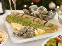Latéral rectifié du buffet saumoné de lendemain de Noël Image libre de droits