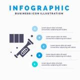 Latón, cuerno, instrumento, música, fondo sólido de la presentación de los pasos de Infographics 5 del icono de la trompeta stock de ilustración
