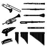Latón e instrumentoes de viento stock de ilustración
