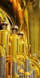 Latón y cromo en el euphonium Imágenes de archivo libres de regalías