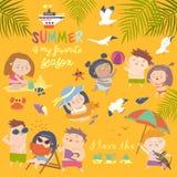 Lat childs plenerowe aktywność Plażowy wakacje Zdjęcia Royalty Free