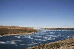 Lat colours w wysoki arktycznym z lodem w zatoce blisko Cambridge zatoki Zdjęcie Royalty Free