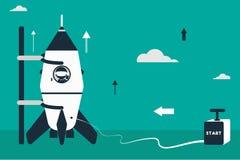Lat design illustration with rocket, stick astronaut figures and detonator box as starter. Rocket launch concept. Flat design illustration with rocket, stick Stock Photos
