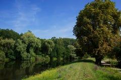 lat flod Arkivfoton