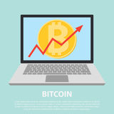 Lat icon design of uptrend line arrow breaking through bitcoin in tablet. Uptrend line arrow with bitcoin sign in flat icon design royalty free illustration