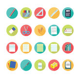 Lat icons set of back to school concept. Stock Photos