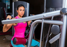 Lat Lateral dorsal pulldown machine upper back. Exercises woman at gym workout Royalty Free Stock Photo