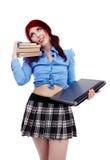 Lat skolflicka i closeup Arkivbild