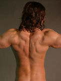 Lat spread. Male with arms spread Stock Photo