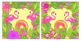Lat tło tropikalna kwiecista różnica z egzotem opuszcza i kwiaty, para uroczy różowy flaming i gorący słońce dla Tshirt, ilustracji