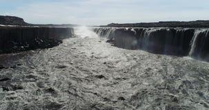 Latać nad rzeką blisko Selfoss siklawy w północnym Iceland zbiory
