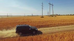 Latać pionowo nad samochodowy jeżdżenie na drodze zbiory