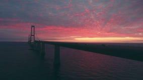 Latać Storebaelt mostem w morzu zbiory