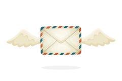 Latać zamkniętą rocznik poczta kopertę z skrzydłami Obrazy Stock