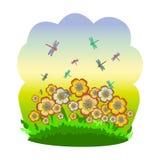 Lata łąka, kwiaty i dragonflies, royalty ilustracja