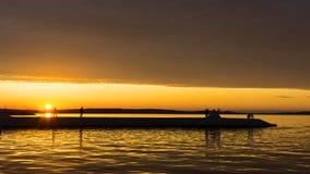 Lata afterglow zmierzchu niebo na miasta quay Fotografia Stock