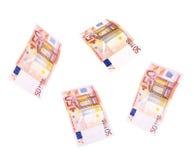 Latać 50 banknotów euro Zdjęcie Royalty Free