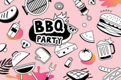 Lata BBQ doodles symbol i protestuje ikonę dla partyjnego tła Obraz Royalty Free