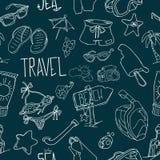 lata bezszwowy wzoru Ręka rysujący wektorowi lato przedmioty i symbole Podróż kolorowy tropikalny wakacyjny projekt Wakacje co ilustracja wektor