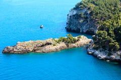 Lata Cala brzegowi di Porto Greco, Gargano, Puglia, Włochy Obraz Stock