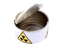 Lata con la muestra cuatro de la radiación Fotografía de archivo