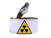 Lata con la muestra dos de la radiación Fotografía de archivo libre de regalías