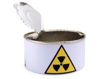 Lata con la muestra seis de la radiación Fotografía de archivo