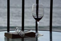 Lata czytanie z Szklanym czerwonym winem przy plażą Zdjęcia Royalty Free