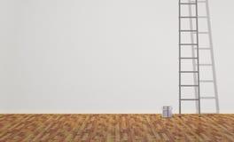 Lata da escada e da pintura Fotografia de Stock Royalty Free