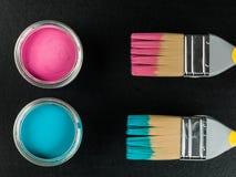 Lata da pintura azul e cor-de-rosa com escovas de pintura Imagens de Stock