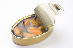 Lata de alumínio, alimento enlatado isolado sobre o branco foto de stock