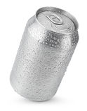 lata de alumínio de 330 ml com gotas da água Imagens de Stock