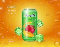 Lata de Alumimium del zumo de manzana Diseño del vector de la publicidad del jugo de fruta Foto de archivo