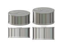 Lata de aluminio cilíndrica corta con la etiqueta del tirón, trayectoria de recortes Imagen de archivo libre de regalías