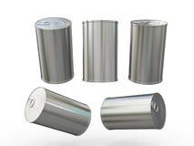 Lata de aluminio en blanco que empaqueta con la etiqueta del tirón, trayectoria de recortes adentro Imagen de archivo