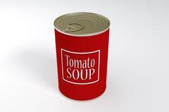 Lata de A da sopa do tomate imagens de stock
