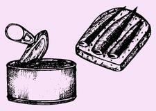 Lata de lata, arenque pequeno, sanduíche Imagens de Stock Royalty Free