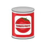 Lata de lata da pasta de tomate Conservas alimentares com tomates ilustração royalty free