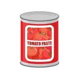 Lata de lata da pasta de tomate Conservas alimentares com tomates ilustração stock